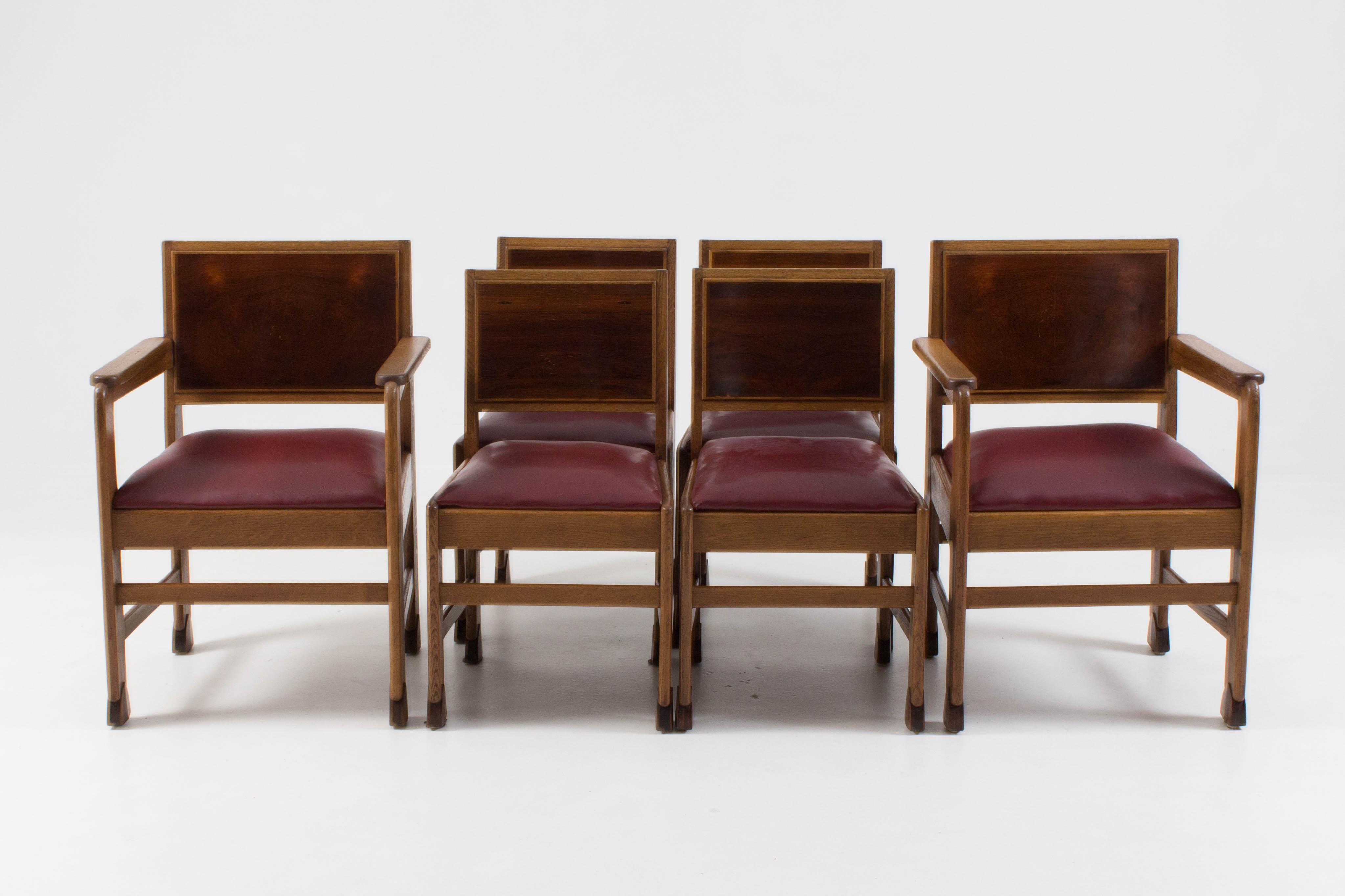 Art Deco Kuipstoelen.Prachtige Set Van Zes Amsterdamse School Stoelen Amsterdam Modernism